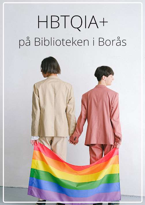 Två personer som håller varandra i handen och i en regnbågsflagga