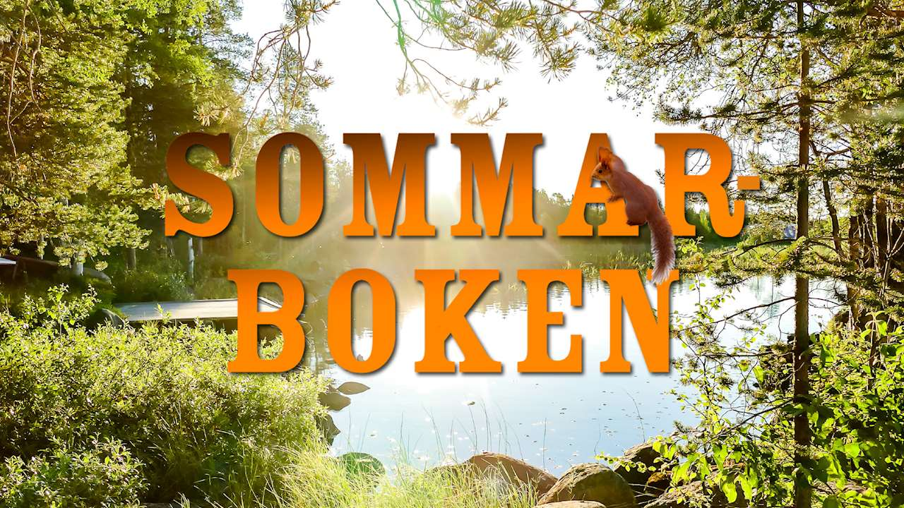 texten Sommarboken framför en skogssjö.